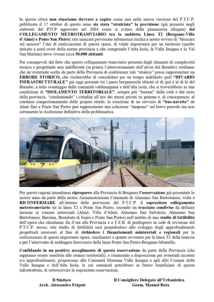 Da Almenno San Bartolomeo un No contro lo stralcio del collegamento Metrotranviario
