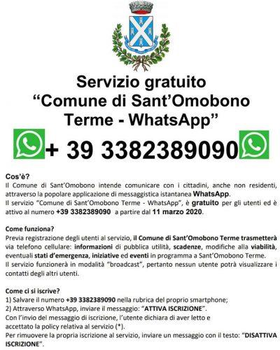 volantino servizio whatsapp gratuito Sant'Omobono Terme