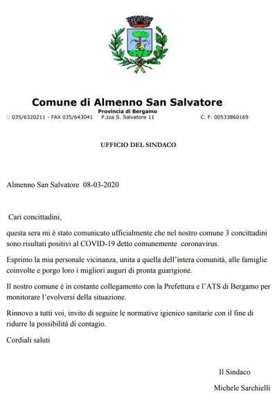 Comunicazione Sindaco di Almenno San Salvatore